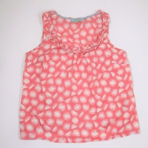 Boden Cotton Tank Top Carnation Pink Ruffle Neck